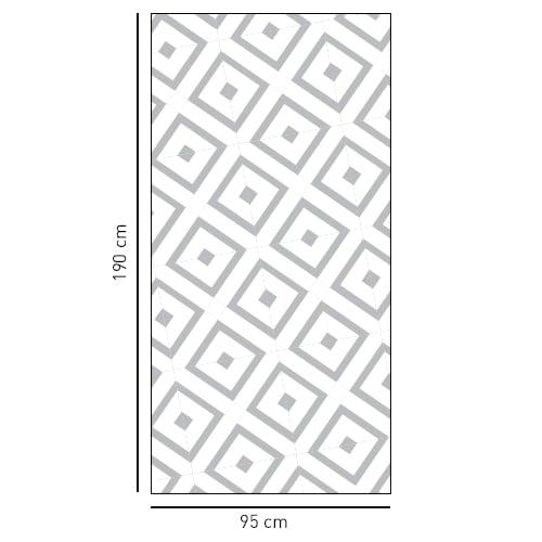 sticker décoratif motif losange méditerranéen pour vitre de douche