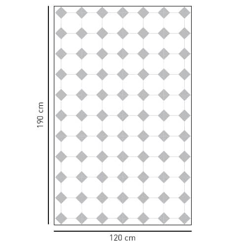 Sticker décoratif grand losanges gris motifs Vichy pour salle de bain