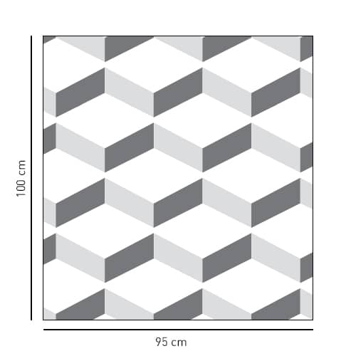Sticker carré décoratif Chevrons 3D blancs pour salle de bain
