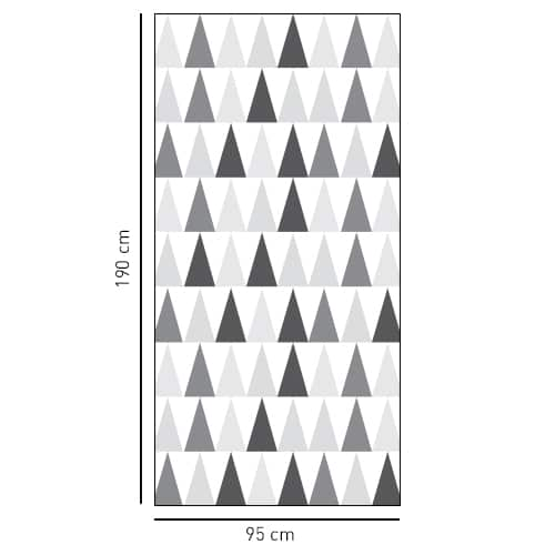 sticker décoratif motif triangle noir blanc et gris pour vitre de douche