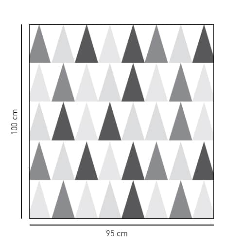 Sticker carré motif triangles tri-colores noirs blancs gris pour salle de douche
