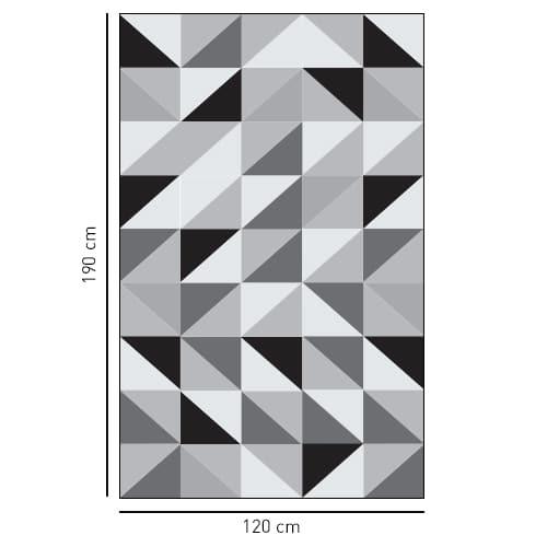 Sticker décoratif adhésif motif triangles tri-color pour vitres de douches