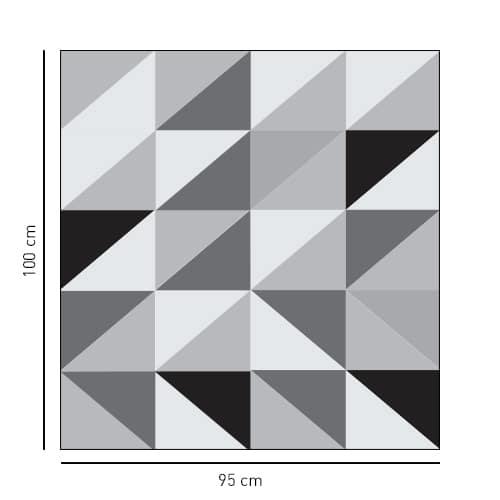 Sticker motif triangle tri-color noir gris et blanc en format carré pour salle de bain