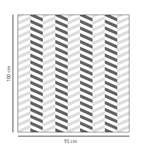 Sticker pour personnaliser la paroi de douche avec un carré simple à chevrons 3D