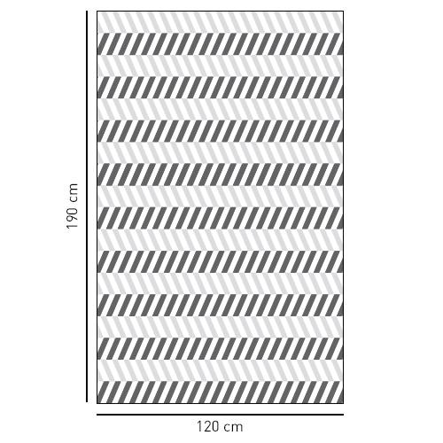 Sticker adhésif décoratif motif chevrons horizontaux chevrons blanc et noirs pour salle de bain