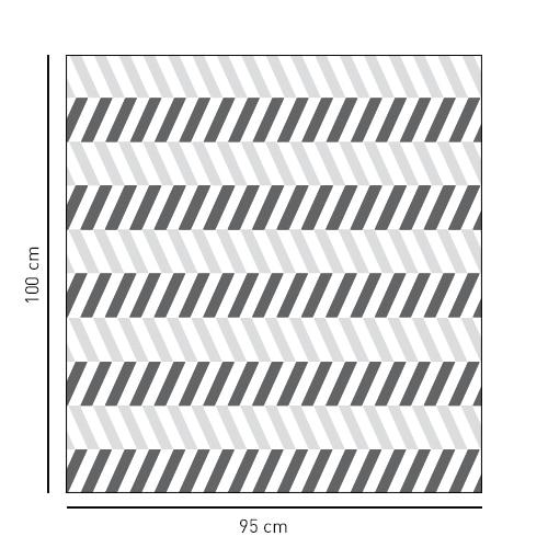 Sticker format carré motif chevrons blancs et noirs pour salle de bain