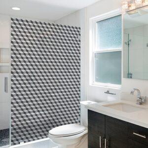 Sticker Damier 3D carrelage dans une salle de bain moderne