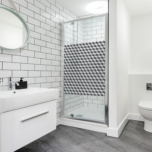 Sticker autocollant Damier 3D carrelage dans une salle de bain