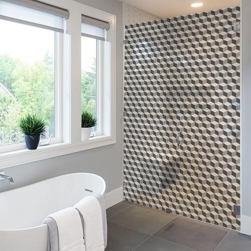 Sticker adhésif Damier 3D carrelage sur une paroi de douche