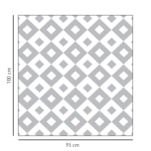 Sticker Grands carrés noir et blanc déco pour paroi de douche