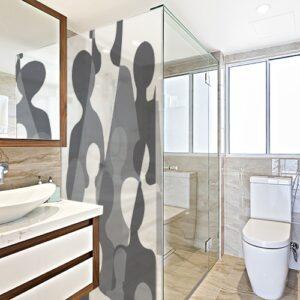 Sticker adhésif grandes silhouettes dans une salle de bain