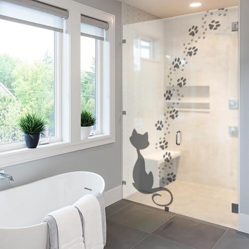 Sticker adhésif Qui a fait chat décoration sur une paroi de douche
