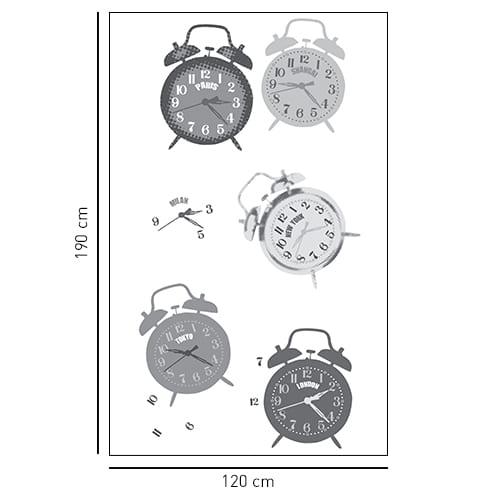 Sticker adhésif décoration paroi de douche Tic Tac gris