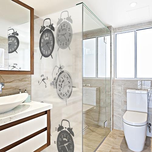 Adhésif pour paroi de douche décoration Tic Tac gris de salle de bain moderne