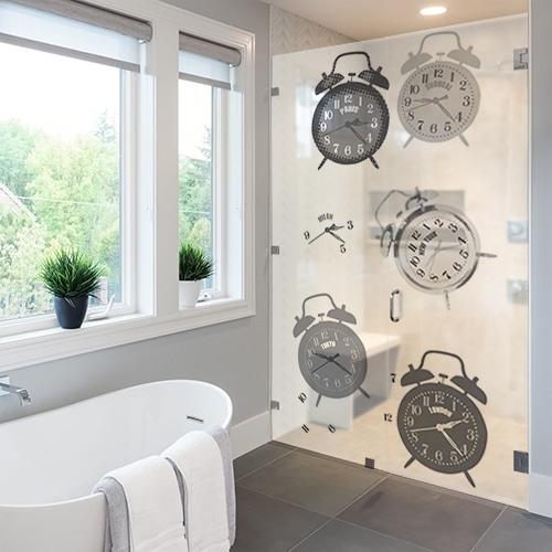 Sticker autocollant pour paroi de douche décoration Tic Tac gris de salle de bain moderne