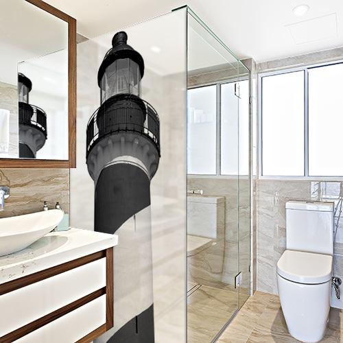 Autocollant décoration Phare Marin gris de paroi de douche pour la salle de bain moderne