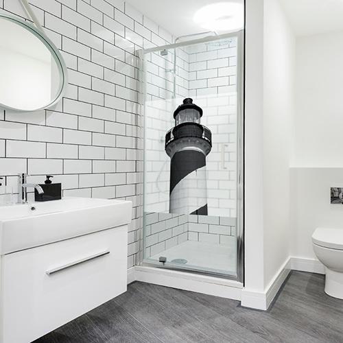 Sticker adhésif Phare Marin pour décoration gris pour paroi de douche pour salle de bain moderne
