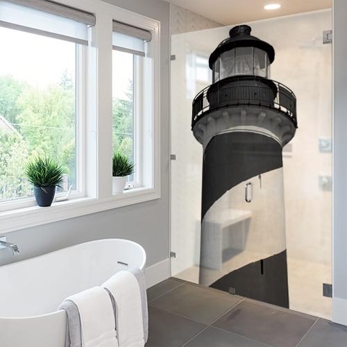 Autocollant Phare Marin gris pour la salle de bain et la paroi de douche