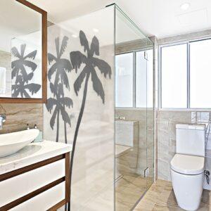 Adhésif décoration Palmiers pour paroi de douche de salle de bain moderne