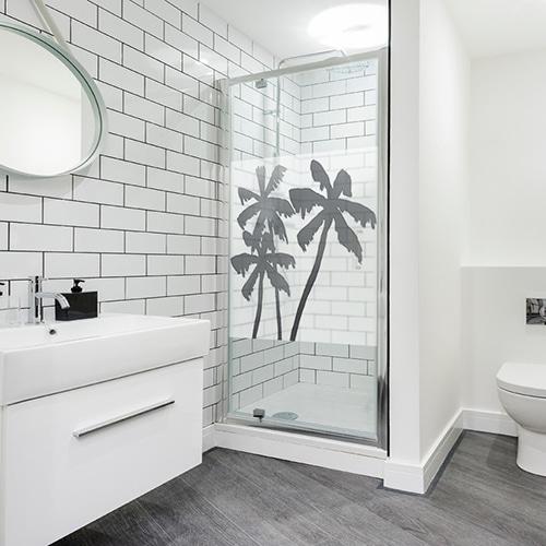 Autocollant Palmiers décoration de paroi de douche de salle de bain