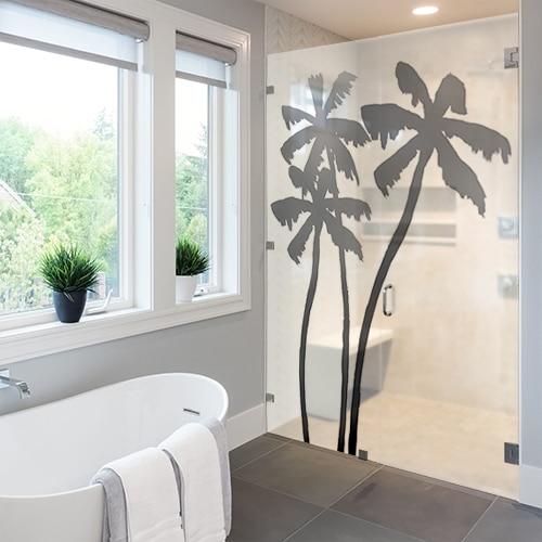 Autocollant Palmiers pour décoration de paroi de douche de salle de bain moderne