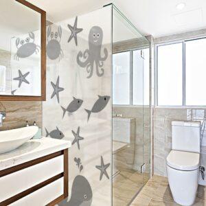 Autocollant Animaux Marins gris pour déco de paroi de douche de salle de bain moderne
