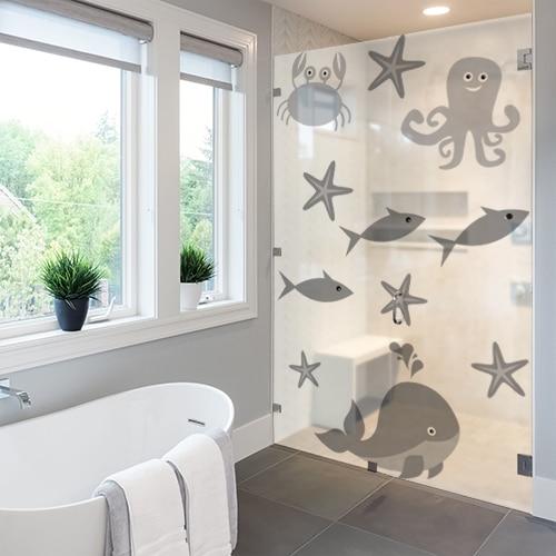 Stickers autocollant décoration paroi de douche Animaux Marins pour salle de bain moderne