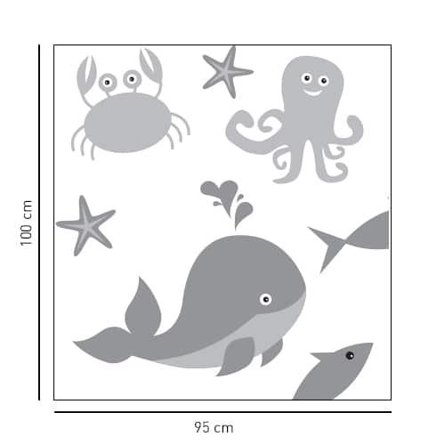 sticker Animaux Marins décoration de salle de bain pour douche