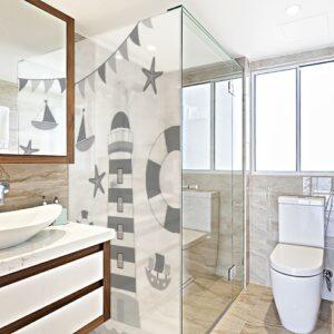 Adhésif Phare Gris et Blanc décoration pour paroi de douche de salle de bain moderne