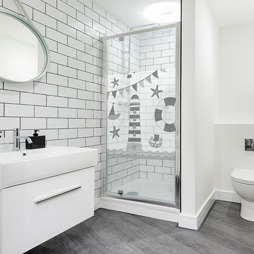 Autocollant déco Phare Gris et Blanc pour paroi de douche de salle de bain moderne
