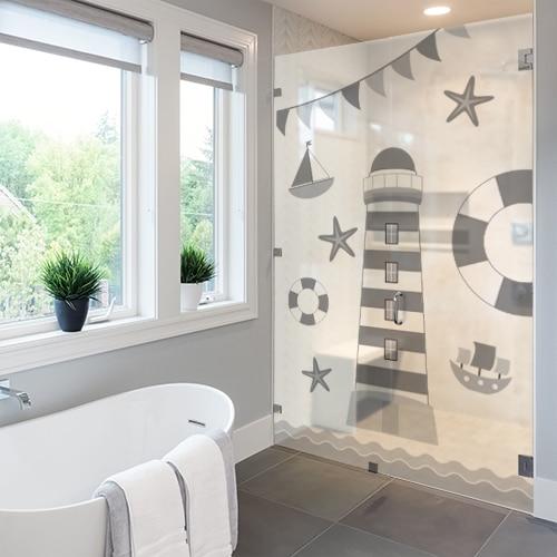 Sticker adhésif Phare Gris et Blanc pour décoration pour salle de bain moderne