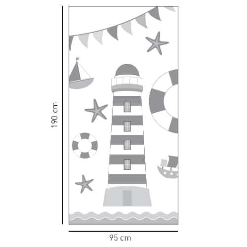Sticker gris salle de bain déco Phare Gris et Blanc pour douche