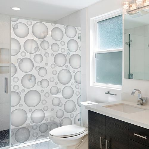 Adhésif sticker Bulles de Savon déco gris pour la salle de bain moderne