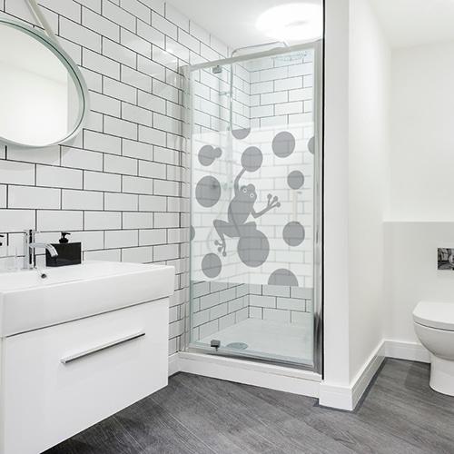 Adhésif Grenouille gris pour décoration de paroi de douche pour salle de bain moderne