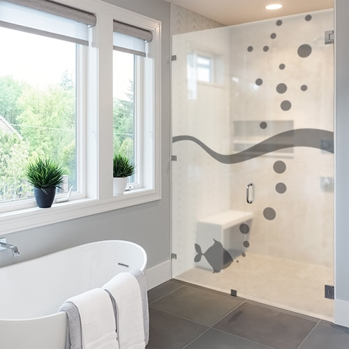 Adhésif décoration Poisson à bulles gris pour paroi de douche de salle de bain moderne