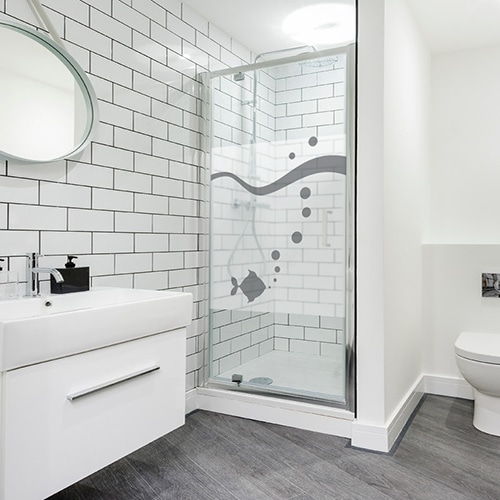 Autocollant Poisson à bulles gris pour décoration paroi de douche de salle de bain moderne