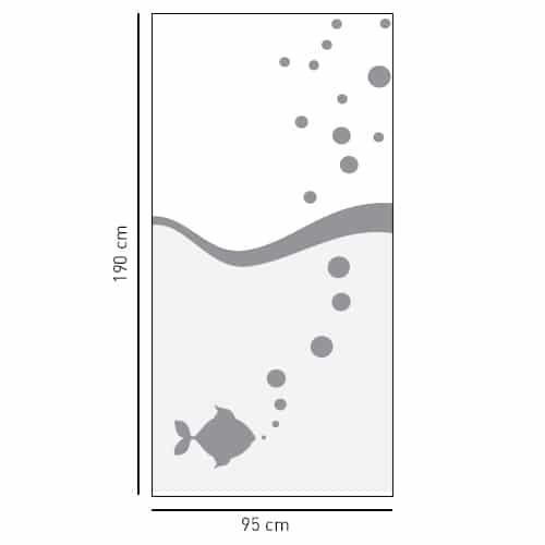 Adhésif déco gris Poisson à bulles pour douche