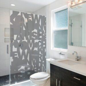 Adhésif pour paroi de douche déco Capitales gris pour salle de bain