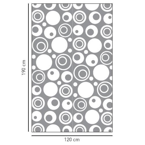 Stickers autocollant déco gris Diapo Sixties pour paroi de douche de salle de bain