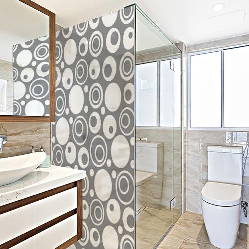 Adhésif Diapo Sixties gris pour paroi de douche pour décoration de salle de bain