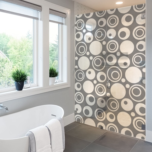Autocollant Diapo Sixties pour paroi de douche gris de salle de bain moderne