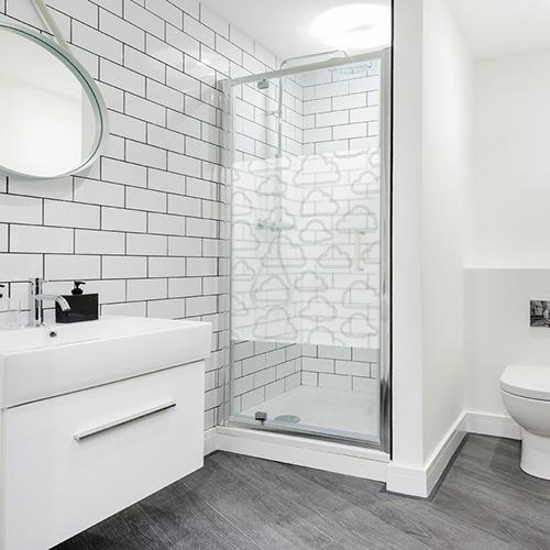 Adhésif autocollant Nuages pour paroi de douche sticker gris déco de salle de bain moderne