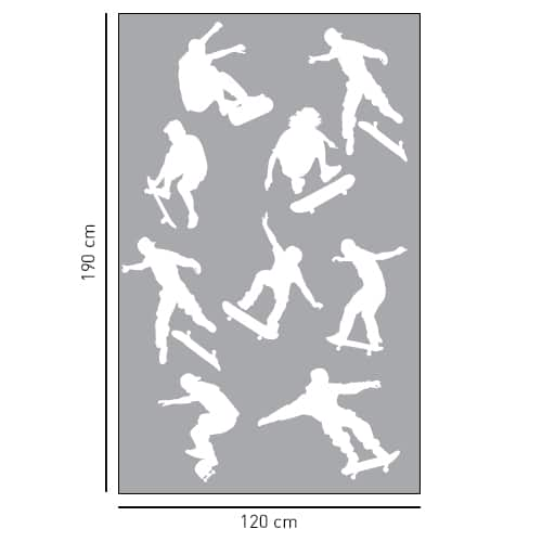 Sticker autocollant gris déco paroi de douche Diapo Skaters