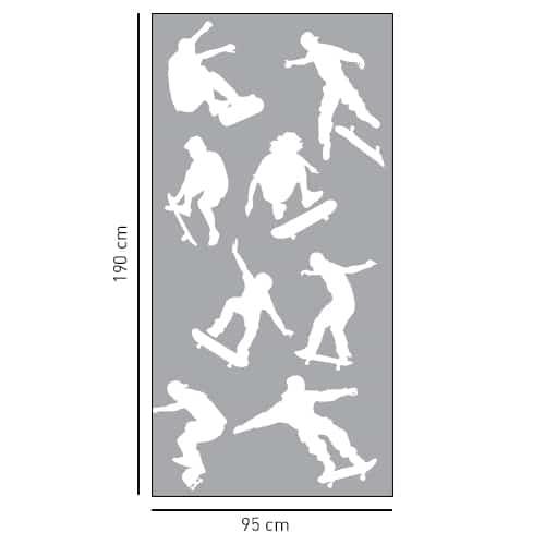 Sticker déco gris Diapo Skaters pour douche