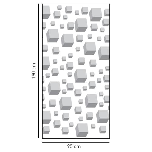 Autocollant sticker cubes 3D sticker gris pour décoration douche