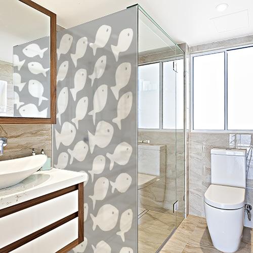 Sticker autocollant Diapo Banc de Poissons pour douche salle de bain