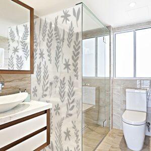 Autocollant Herbier gris pour paroi de douche de salle de bain
