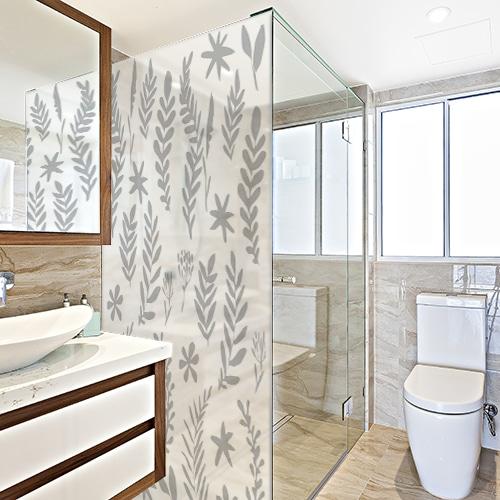 sticker autocollant herbier pour douche salle de bain d coration. Black Bedroom Furniture Sets. Home Design Ideas