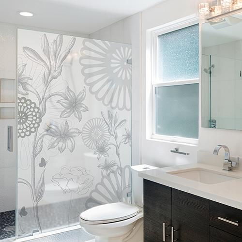 Adhésif Fleurs des Champs gris pour déco de paroi de douche de salle de bain moderne