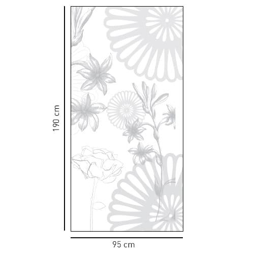 Adhésif sticker gris fleurs des champs pour déco douche